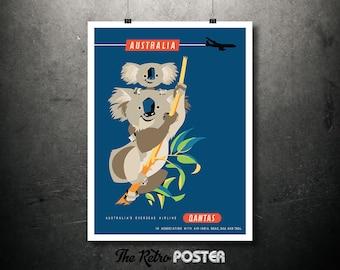 Australia, Koala, Qantas Vintage Travel Poster, Wanderlust, Travel Prints, Airline Poster, Travel gift, Travel Decor, Travel Poster Prints