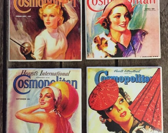 Decorative Tiles, Vintage Cosmopolitan Magazine, Wall Decor, Home Decor, Office Decor, Ceramic Tile Art, Coasters