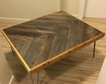 weathered barn wood coffee table