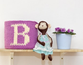 name basket\ Knitted BASKET for toys, more colors / Knitted decorative basket\ crochet basket
