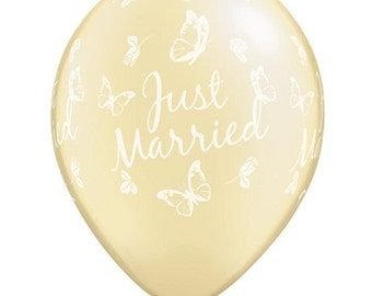 "11"" Stunning ""Just Married"" with Butterflies all around Latex Balloon  - Ivory - Weddings,"