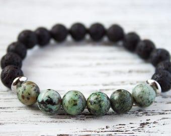 Black Turquoise Bracelet Minimalist Bracelet Boyfriend Bracelet Black Matte Bracelet Gift for her Colorful Stackable Bracelet Silver Accents