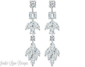 Bridal Earrings Leaf, Drop Crystal Earrings, Bridal Gown, Bridal Jewelry, Bridesmaid Earrings, Wedding Earrings, Vintage Bridal, Crystal