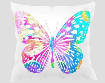Watercolor Butterfly 1 Throw Pillow, Watercolor Butterfly Pillow, Pillow Cover, Accent Pillow, Nursery Decor
