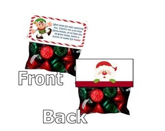 Elf Kisses - goody bags - bag toppers