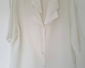 VINTAGE white sheer blouse M/L