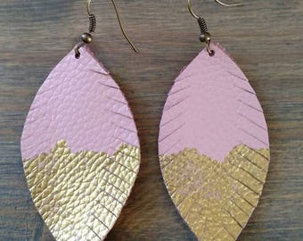 Pink and Gold Feather Earrings - Leather Gold Dipped Jewelry - Pink Dangle Earrings - Spring Feather Earrings