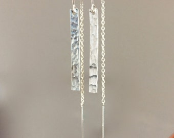 Handmade Sterling Silver Hammered Bar Dangle Threader Earrings with U-bar