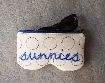 Sunglasses Case, Sunglass Pouch, Sunglasses Protector, Sunnies, Padded Zipper Case, Glasses Case, Zipper Pouch, Sunglasses, Rainbow Dots
