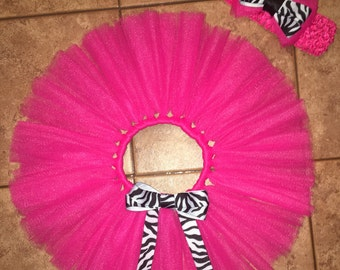 Hot Pink Zebra Tutu Skirt With Matching Headband.
