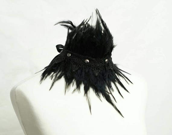 SALE double silverblack gothic chocker with feathers and lace, Choker gothic with feathers and lace