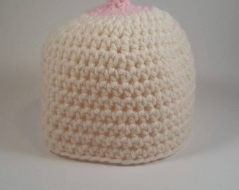 Boob hat, breastfeeding hat, newborn boob hat, toddler boob hat, crochet boob hat, boobie beanie, baby shower gift, baby girl hat