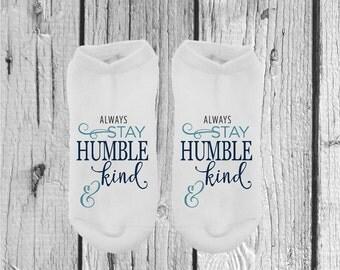 Humble and Kind Socks - Stocking Stuffers - Gifts Under 10 - Socks - Womens Socks - No Show Socks - Inspirational - Motivational