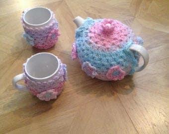Granny square tea cosy set