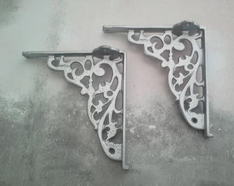 Pair Cast Iron Silver  Shelf Wall Bracket Wall Brackets Silver Vintage Rustic Style Antique Silver Decor Metalics Decor
