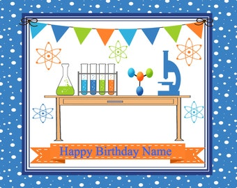 Mad Scientist Edible Cake, Cupcake, and Cookie Toppers, Free Personalized Message