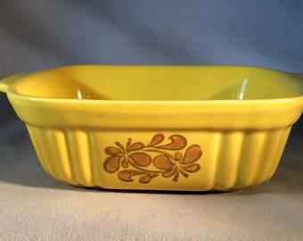 Mid Century Pfaltzgraff 16 Oz. Baking Dish/Casserole - FTDA USA 1983 - Sunny Yellow w/Brown Flowers