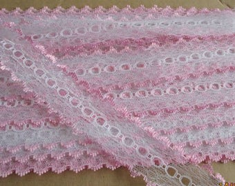 Eyelet lace Knitting lace white opal with coloured edge