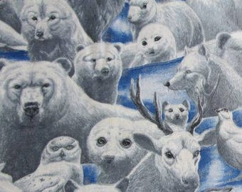 Animal print fabric Arctic animals blue and silver