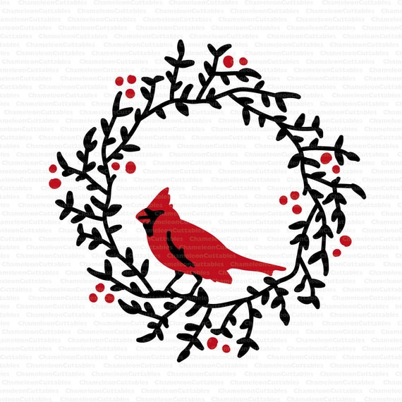 Wreath With Cardinal Svg Cut File Decal Vector