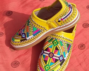 Handmade Embroidered Moroccan Leather Babouche Shoe