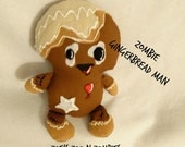 Handmade Zombie Gingerbread Man Cloth Doll Fantasy Stuffie Custom Order