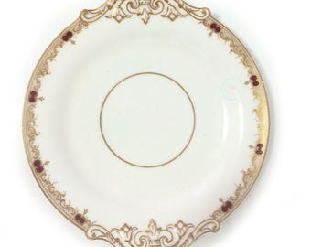 Vintage and rare Copeland/Spode, regal sandwich plate, lavished with gold, scrolling and ruby motifs (1851-85)