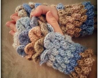 PATTERN: Crochet Dragon Scale/Crocodile and Popcorn Stitch Fingerless Gloves - Multi-Colour