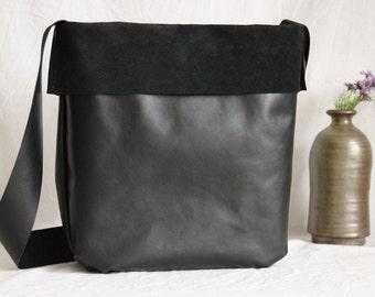Shoulder bag leather, Ledershopper, leather bag, black