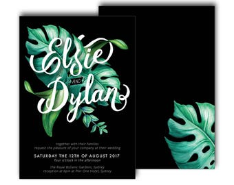 Tropical Wedding Invitation, Black, Green, Typographic, Typography, Wedding Invite, Modern, Palm, Summer, Script, Beach (Intertwined)