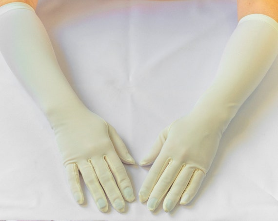 Vintage Elbow Gloves, bridal gloves, ivory gloves, long gloves 12