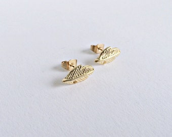 Ear earrings gold, feather earrings, feather earring in gold