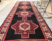 3x10 Vintage Persian Runner Rug Hallway Runner Rug Wool Rug Hand Knotted Rug Pink Rug Area Rug - AHKI0310