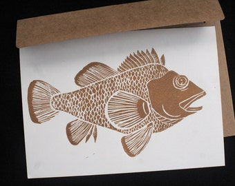 Rockfish Linocut Hand-Printed Greeting Card - Bronze