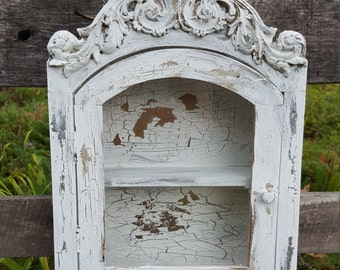 Distressed White Chippy Painted Cabinet French Farmhouse Display Shelf Wall Hanging Ornate Glass Door Cottage Chic
