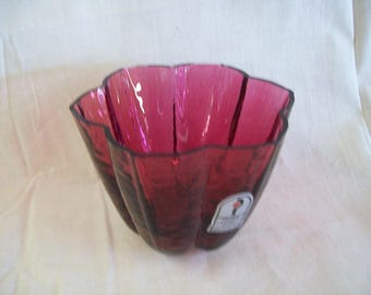 Vintage Pilgrim Cranberry Glass Bowl