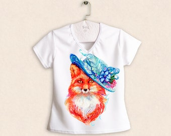 Lady Fox / Fox with hat and flowers / funny V-neck woman t-shirt
