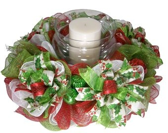Christmas Candle Ring - Christmas Centerpiece - Holiday Candle Ring - Deco Mesh Centerpiece - Candle Ring - Holiday Decor