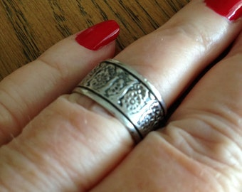 Sterling Flower Band Ring
