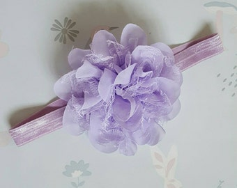 Lilac Chiffon and Lace Flower Baby and Toddler Headband