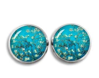 Van Gogh Stud Earrings Almond Blossoms Earrings Van Gogh painting Earrings Art Jewelry
