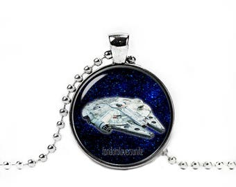 Millennium Falcon Necklace Star Wars Necklace Fandom Jewelry Necklace Pendant Geeky Fangirl Fanboy
