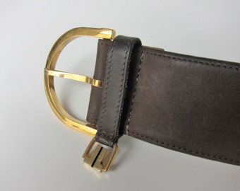 LANVIN Paris 1970's 1980's Vintage leather belt size S/T75