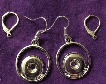 Silver Dangling 12mm Interchangeable Snap Earrings with Fish Hooks - Custom Order