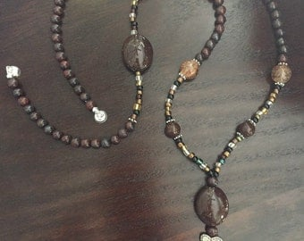 FREE SHIPPING on this Classy Brown, Amber and Silver Beaded Lanyard, Badge and Key Holder