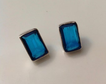 Vintage Sterling and Blue Glass Earrings - Pierced