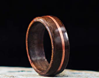 Wooden Ring Handmade From Walnut Wood And Copper, Copper Wood Ring, Metal and Wood Ring