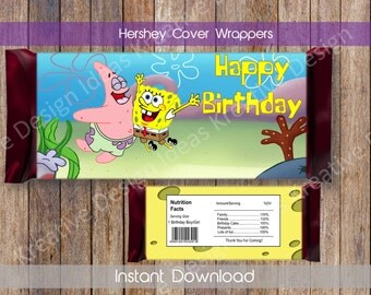 Spongebob Hershey Wrappers Spongebob Hershey Chocolate Wrapper Spongebob Chocolate Wrappers Spongeob Hershey Favors INSTANT DOWNLOAD