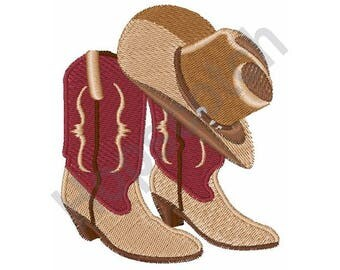 Cowboy Boots And Hat - Machine Embroidery Design