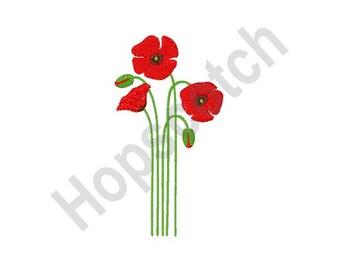 Poppy Flower-Machine Embroidery Design